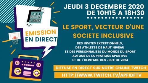 Radio Roue Libre : Emission spéciale Sport jeudi 3 décembre de 10h15 à 18h30