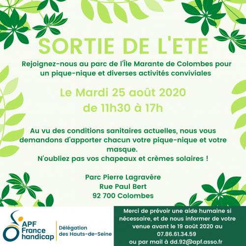 Mardi 25/08 : Pique-nique et activités conviviales au parc de l'île Marante de Colombes de 11h30 à 17h