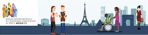 Illustration du site de la MDPH de Paris - Personnages en situation de handicap dans un décor urbain