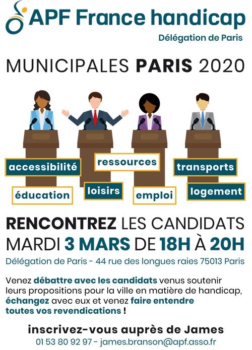Municipales 2020, venez rencontrer les candidats le mardi 3 mars à 18h à la délégation de Paris !