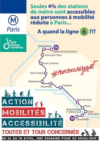 Seules 4% des stations de métro sont accessibles aux personnes à mobilité réduite à Paris... A quand la ligne 6 ?!? #MarchesAttaqu