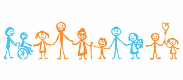 Visuel de personnages en situation de handicap ou non tous ensemble