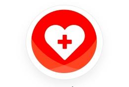 Logo en forme de coeur avec une croix médical en son centre