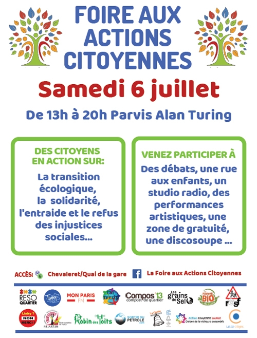 Foire aux actions citoyennes samedi 6 juillet de 13h à 20h sur le parvis Alan Turing