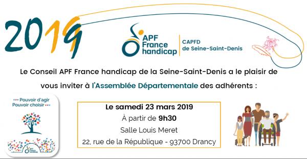 LInvitation à l'assemblée départementale APF France handicap 93 le 23 mars de 9h à 17h au 22 rue de la République 93700 Drancy