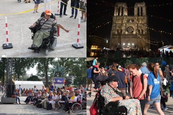 Montage photo de la Nuit du Handicap (parcours fauteuil, adhérents APF-Fh, Notre Dame, foule)