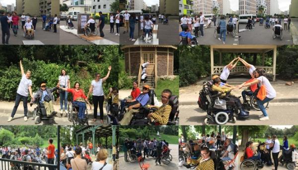Montage photo du Citizen Day L'Oréal avec les adhérents de Paris au Parc Montsouris (parcours de sensibilisation avec les salariés L'Oréal, pique nique, jeu de piste, foule)