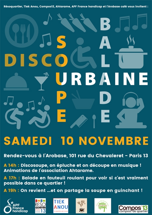 Affiche de la discosoupe & balade urbaine du samedi 10 novembre