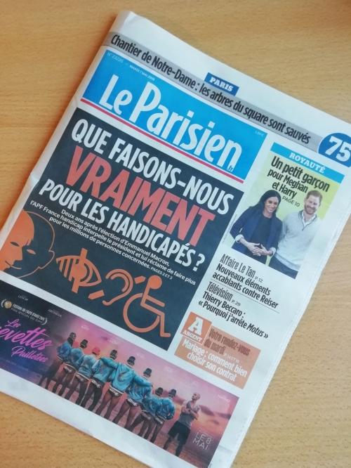 La une du Parisien du 7 mai : Que faisons-nous VRAIMENT pour les handicapés ?