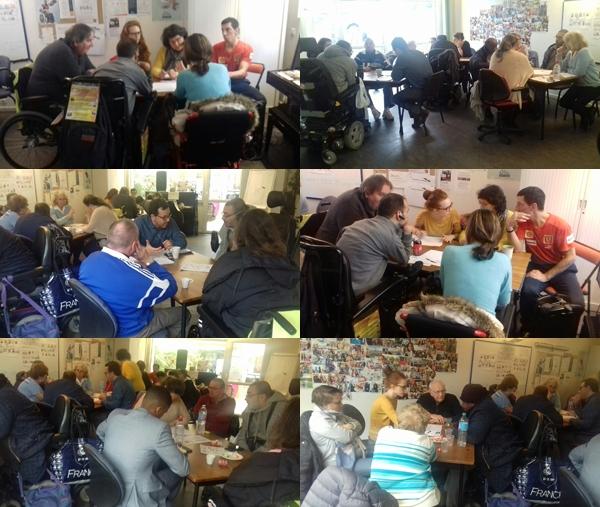 Montage photo des participants attablés pour le Grand Débat National organisé à la Délégation du Val-de-Marne