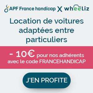 Wheeliz, location de véhicules adaptés entre particuliers. -10€ pour nos adhérents avec le code FRANCEHANDICAP