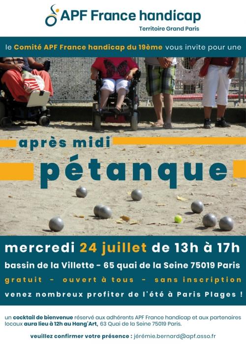 Après midi pétanque du Comité APF France handicap du 19ème, bassin de la Villette - 65 quai de la Seine 75019 Paris