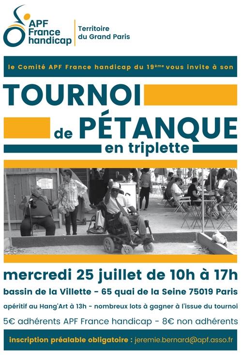 Affiche du Tournoi de Pétanque du Comité APF France handicap du 19ème