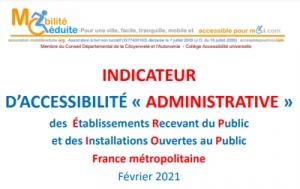 """Indicateur national d'accessibilité """"Administrative"""" pour tous les départements métropolitains"""