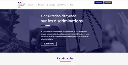 Capture d'écran du site www.consultation-discriminations.gouv.fr
