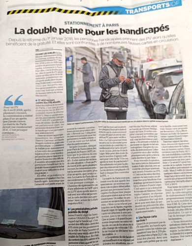 Photo de l'article dans la version papier du Parisien du 2 octobre 2019