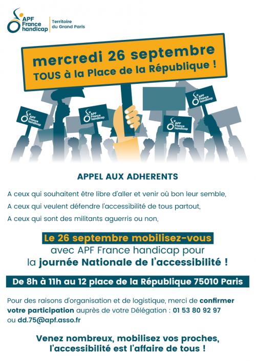 Affiche de l'appel à se rassembler pour l'accessibilité le 26 septembre