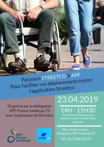 Parcours STREETCO X APF le mardi 23 avril de 14h à 15h30 - Parcours STREETCO X APF le mardi 23 avril de 14h à 16h - Parvis Gare Montparnasse / Starbucks Gare Montparnasse / Paris XV