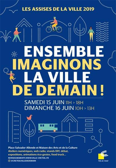 Affiche de la 9ème édition des Assises de la ville « Ensemble, Imaginons la ville de demain ! »