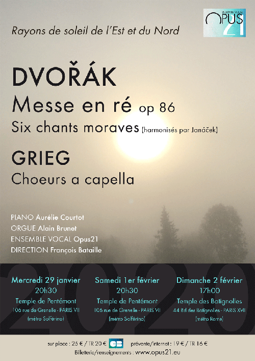 Concerts de l'ensemble vocal OPUS 21 - affiche