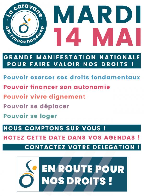 La caravane APF France handicap - Mardi 14 mai - Grande manifestation nationale pour faire valoir vos droits - Notez cette date dans vos agendas !