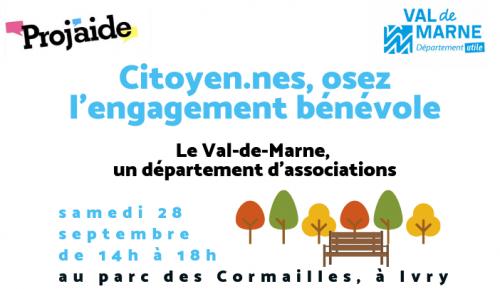 Osez l'engagement bénévole ! Venez rencontrer les associations du Val-de-Marne le samedi 28 septembre de 14h à 18h au parc départemental des Cormailles à Ivry-sur-Seine