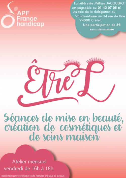 """Affiche de l'Atelier """"être L"""" : Séances de mise en beauté, création de cosmétiques & soins maison"""