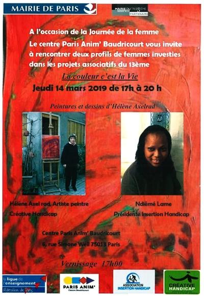 """Affiche de l'exposition """"la couleur c'est la vie"""" au centre d'animation Baudricourt"""