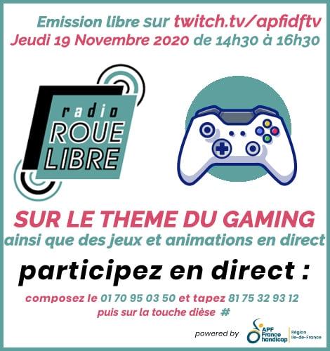 Radio Roue Libre - 19 novembre dès 14h30 - Emission spéciale Gaming !