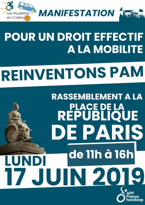 Manifestation pour un droit effectif à la mobilité, réinventons PAM ! RDV place de la République le lundi 17 juin de 11h à 16h