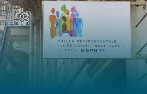 Rue de Paris et logo de la MDPH