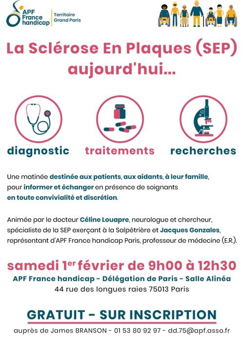 La Sclérose En Plaques (SEP) aujourd'hui... - Samedi 1er février 2020 de 9h à 12h30