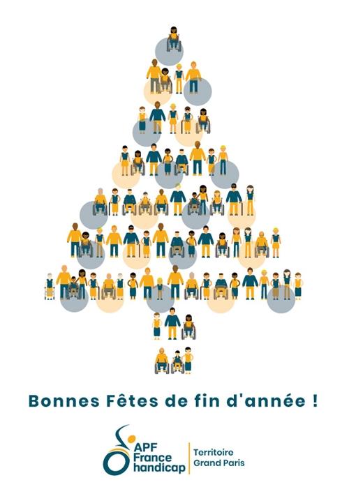 Arbre de noël composé des adhérents APF France handicap - Bonnes fêtes de fin d'année !