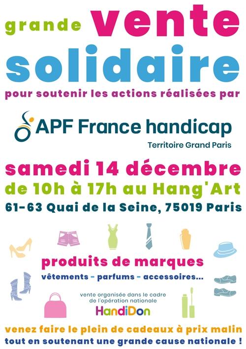 Grande vente solidaire au profit d'APF France handicap - Samedi 14 décembre de 10h à 17h au Hang'Art - 61-63 quai de Seine 75019 Paris