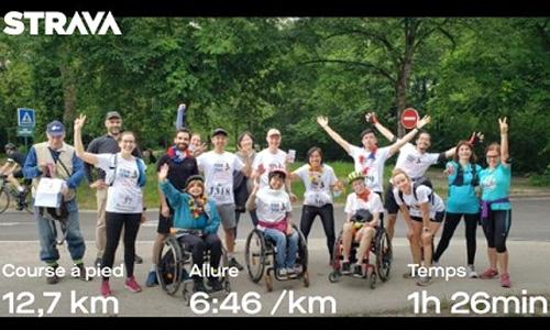 Photo officielle de l'équipe avec le nombre de kilomètres parcourus
