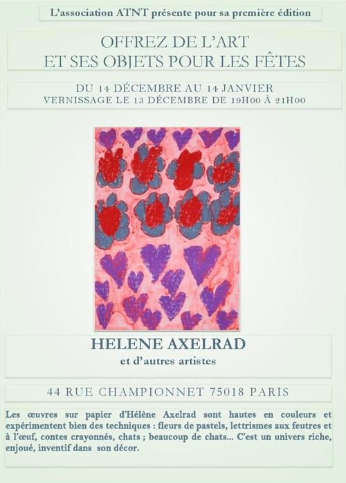 Hélène AXELRAD, artiste en situation de handicap, vous présente ses œuvres du 14 décembre au 14 janvier au 44 rue Championnet 75019 Pairs.