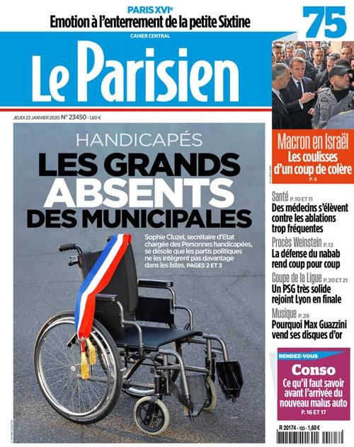 """Couverture du journal Le Parisien du 23 janvier 2020 : """"Les handicapés, grands absents des municipales"""""""