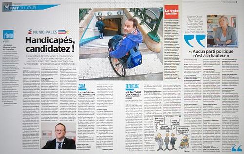"""Double page du journal Le Parisien du 23 janvier 2020 : """"Les handicapés, grands absents des municipales"""""""