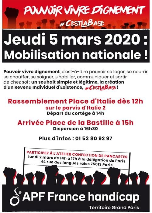 Jeudi 5 mars 2020 : Mobilisation nationale ! Rassemblement Place d'Italie dès 12h sur le parvis d'Italie 2 !