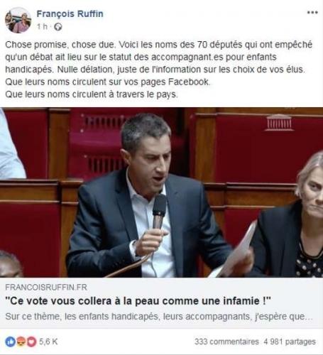 Copie d'écran de la page Facebook de François Ruffin