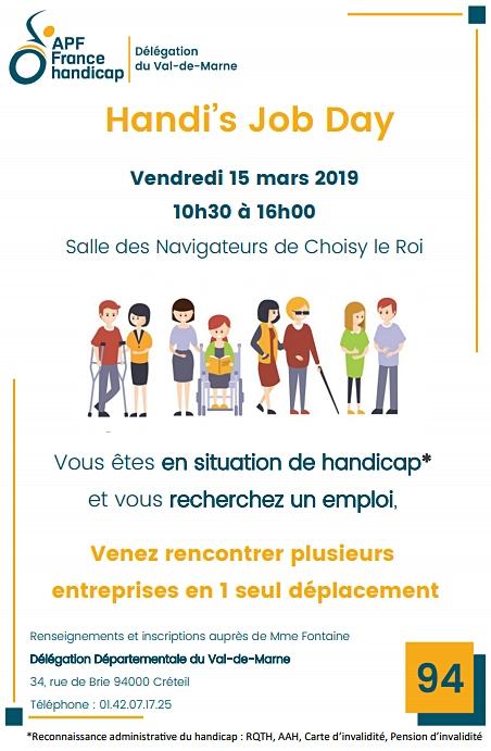 Affiche de l'Handi's Job Day le vendredi 15 mars à Choisy-le-Roi