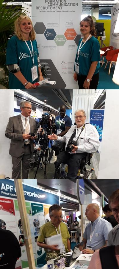 Photos de l'équipe APF France handicap Paris au Salon Handicap, Emploi et Achats Responsables